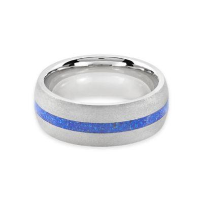 Lashbrook® Cobalt and Lapis Inlay Size 8.5 Ladies' Sandblast Finished Ring