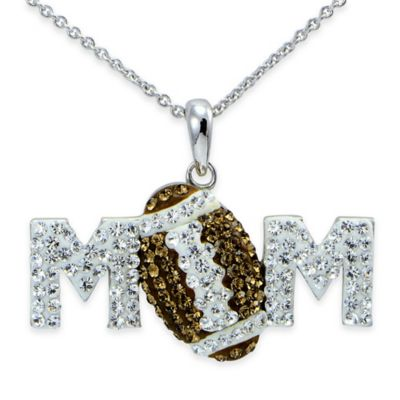 """Sterling Silver Brown and White Crystal 18-Inch Chain Football """"Mom"""" Pendant Necklace"""