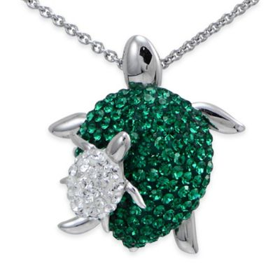 Sterling Silver White and Green Crystal 18-Inch Chain Mom and Baby Turtle Pendant Necklace