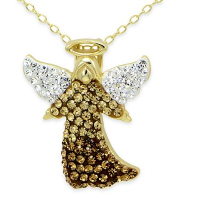 18K Gold-Plated Sterling Silver Brown Crystal 18-Inch Chain Angel Pendant Necklace