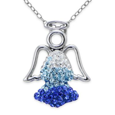 Sterling Silver Blue Crystal 18-Inch Chain Angel Pendant Necklace