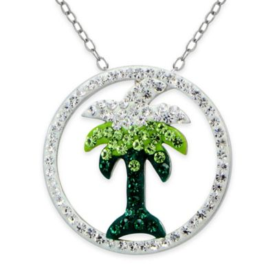Sterling Silver Crystal-Accented 18-Inch Chain Palm Tree Open Circle Pendant Necklace