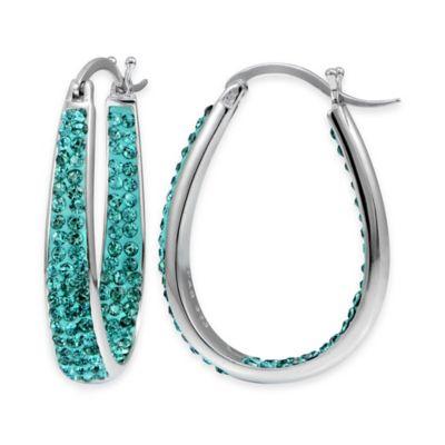 Sterling Silver Light Blue Crystal Oval Inside Out Hoop Earrings