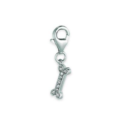 Personality Sterling Silver Crystal Dog Bone Charm