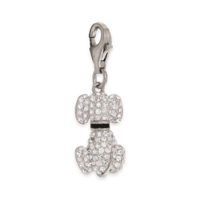 Personality Sterling Silver Crystal Dog Charm
