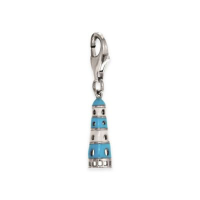 Personality Sterling Silver Enamel Light House Charm