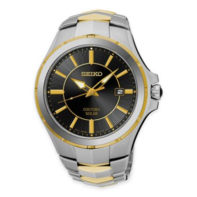Seiko Coutura Men's Solar Watch in Two-Tone Stainless Steel with Cabochon Crown