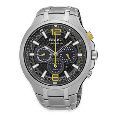 Seiko Recraft Men's Solar Chronograph Watch in Black Ion-Finished Stainless Steel