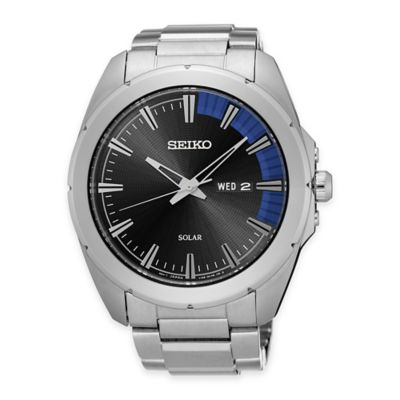 Seiko Recraft Series Men's Solar Bracelet Watch in Stainless Steel and Black Dial