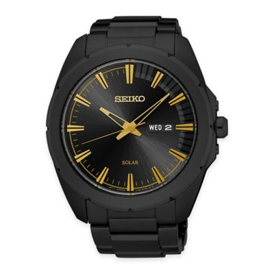 Seiko Recraft Men's Solar Watch in Black Ion-Finished Stainless Steel