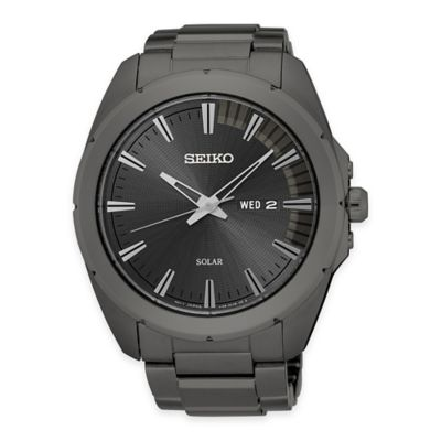Seiko Recraft Men's 45mm Solar Watch in Grey Ion-Plated Stainless Steel