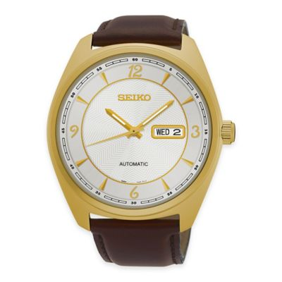 Seiko Recraft Men's Automatic Watch in Goldtone Stainless Steel with Brown Leather Strap