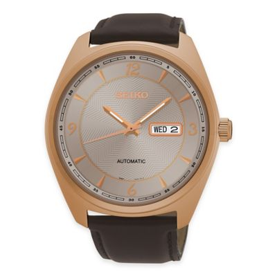 Seiko Recraft Men's Automatic Watch in Rose Goldtone Stainless Steel with Brown Leather Strap
