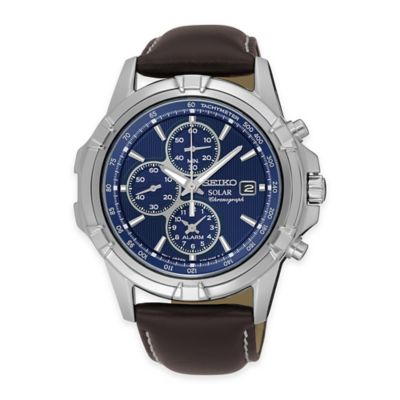Seiko Recraft Series Men's Solar Alarm Chronograph Watch in Stainless Steel with Brown Leather Strap