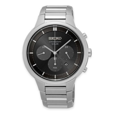 Seiko Men's Solar Chronograph Watch in Stainless Steel with Black Dial