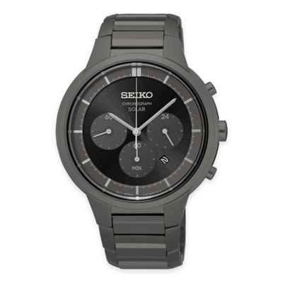 Seiko Men's 41.5mm Solar Chronograph Watch in Grey Ion-Plated Stainless Steel