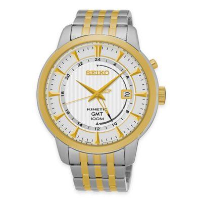 Seiko Men's Kinetic GMT Bracelet Watch in Two-Tone Stainless Steel
