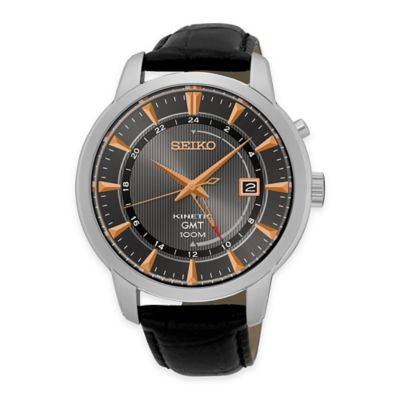 Seiko Men's Kinetic GMT Dress Watch in Stainless Steel with Black Leather Strap