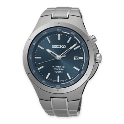 Seiko Men's 43mm Kinetic Watch with Blue Dial in Titanium