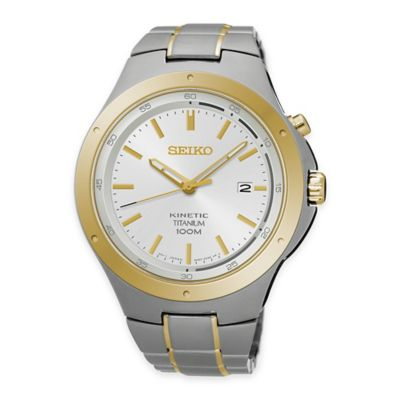Seiko Men's 43mm Kinetic Watch with White Dial in Two-Tone Titanium