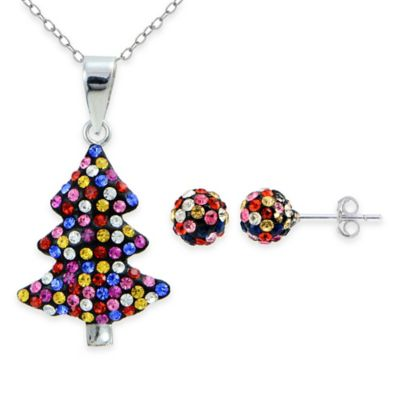 Sterling Silver Multi-Color Crystal 2-Piece Christmas Tree and Ball Stud Earrings Set