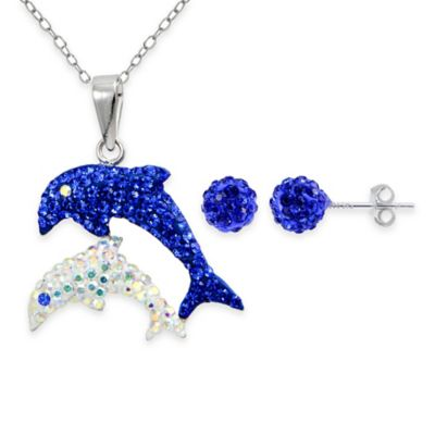 Sterling Silver Blue and White Crystal 2-Piece Pendant Dolphin Necklace and Stud Earring Set