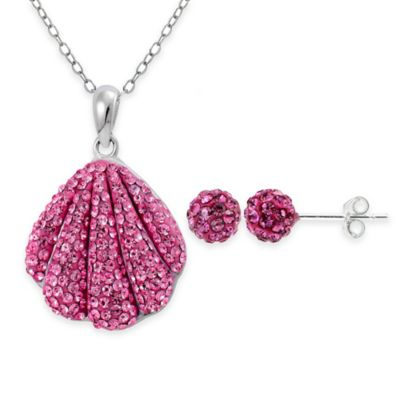 Sterling Silver Pink Crystal 2-Piece Sea Shell Pendant Necklace and Stud Earrings Set