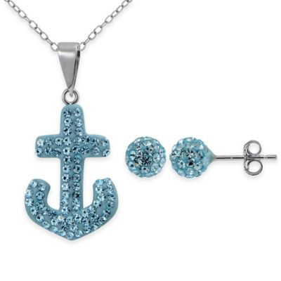 Sterling Silver Blue Crystal 2-Piece Anchor Pendant Necklace and Stud Earrings Set