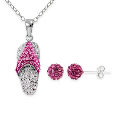 Sterling Silver White and Pink Crystal 2-Piece Flip Flop Pendant Necklace and Stud Earring Set