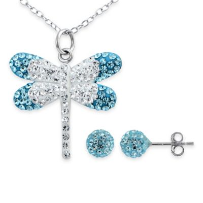 Sterling Silver Blue and White Crystal 2-Piece Dragonfly Pendant Necklace and Stud Earrings Set