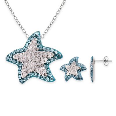 Sterling Silver Blue and White Crystal 2-Piece Star Pendant Necklace and Earrings Set