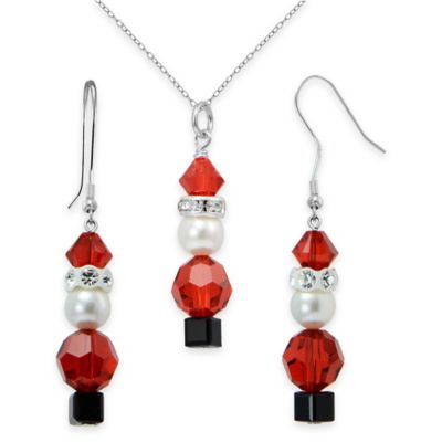 Sterling Silver Red Swarovski Crystal and Pearl 2-Piece Santa Necklace and Dangle Earring Set