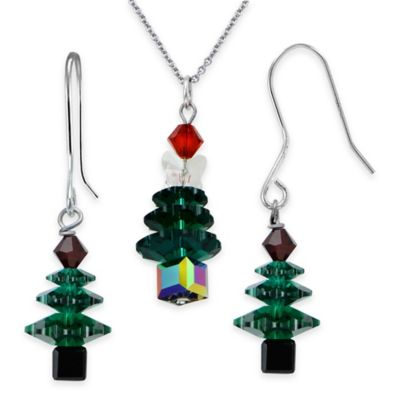 Sterling Silver Swarovski Green Crystal 2-Piece Christmas Tree Necklace and Dangle Earring Set