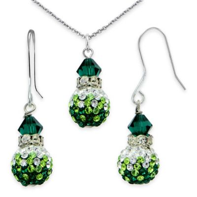 Sterling Silver Green Crystal 2-Piece Pendant Fireball Necklace and Dangle Earring Set