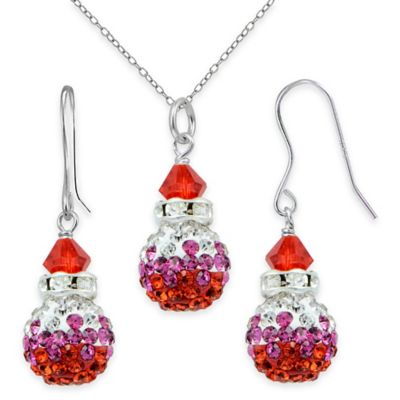 Sterling Silver Red Crystal 2-Piece Pendant Fireball Necklace and Dangle Earring Set
