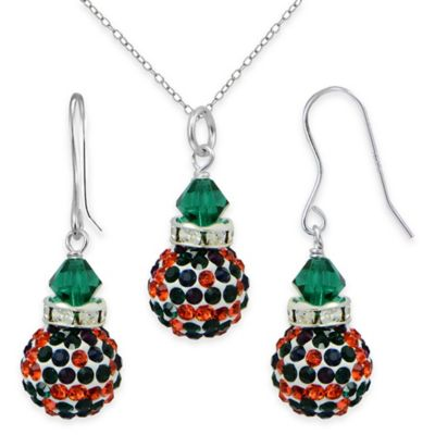 Sterling Silver Green and Red Crystal 2-Piece Pendant Fireball Necklace and Dangle Earring Set
