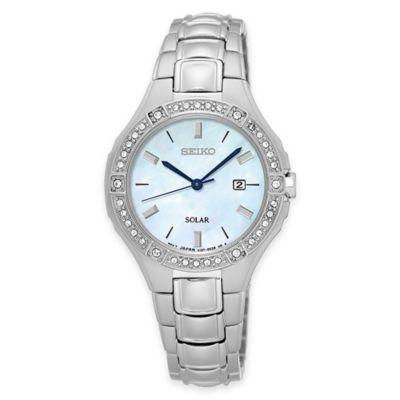 Seiko Ladies' Solar Bracelet Watch in Stainless Steel w/Swarovski® Crystals