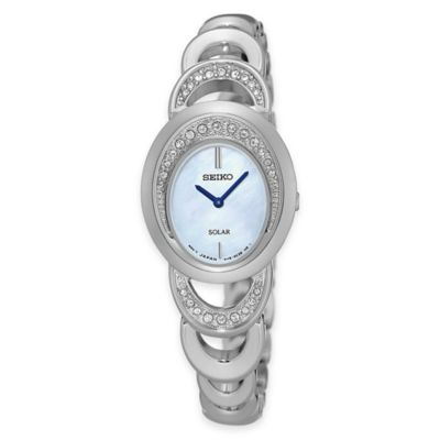 Seiko Ladies' Solar Watch in Stainless Steel with Mother of Pearl Dial and Swarovski® Crystals