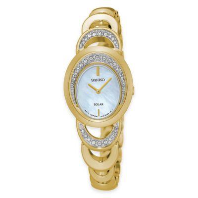 Seiko Ladies' Solar Watch in Stainless Steel with Swarovski® Crystals