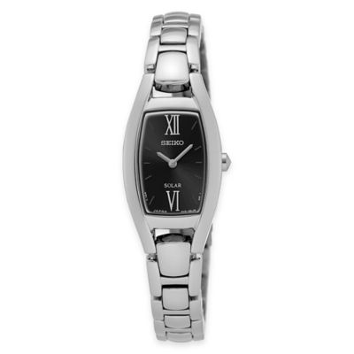 Seiko Ladies' Solar Rectangular Bracelet Watch in Stainless Steel