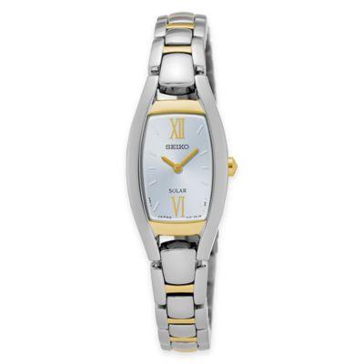 Seiko Ladies' Solar Rectangular Bracelet Watch in Two-Tone Stainless Steel with White Dial