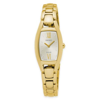 Seiko Ladies' Solar Rectangular Bracelet Watch in Goldtone Stainless Steel