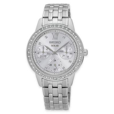 Seiko Ladies' Solar Swarovski® Crystal Bezel Bracelet Watch in Stainless Steel
