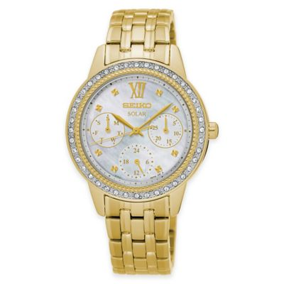 Seiko Recraft Series Solar Ladies' Bracelet Watch in Stainless Steel with Swarovski® Crystals
