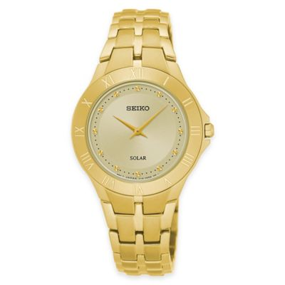 Seiko Recraft Series Ladies' Solar Bracelet Watch in Goldtone Stainless Steel with Champagne Dial