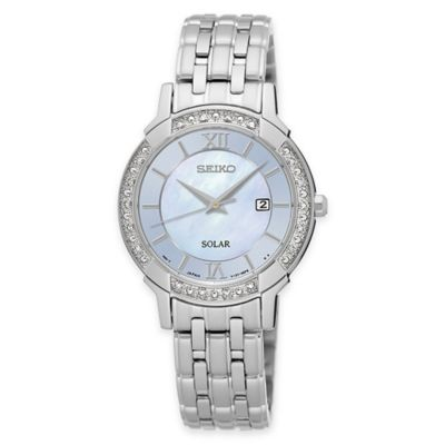 Seiko Ladies' Solar Light Blue Mother of Pearl Watch in Stainless Steel with Diamonds