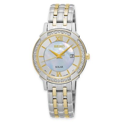 Seiko Solar Women's Diamond Dress Watch in Two-Tone Stainless Steel with Mother of Pearl Dial