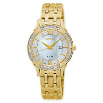Seiko Ladies' Solar Bracelet Watch in Goldtone Stainless Steel with Diamonds