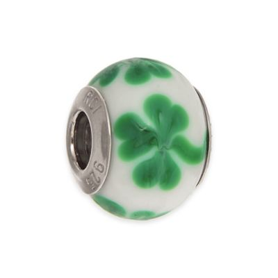 Personality Sterling Silver Enamel Clover Glass Bead Charm