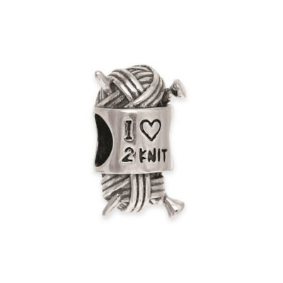 "Personality Sterling Silver ""I Love 2 Knit"" Needles and Yarn Bead Charm"
